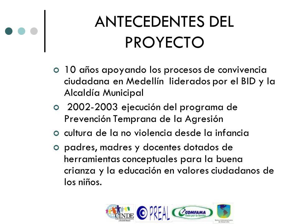ANTECEDENTES DEL PROYECTO 10 años apoyando los procesos de convivencia ciudadana en Medellín liderados por el BID y la Alcaldía Municipal 2002-2003 ej