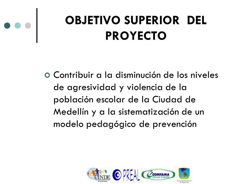 OBJETIVO SUPERIOR DEL PROYECTO Contribuir a la disminución de los niveles de agresividad y violencia de la población escolar de la Ciudad de Medellín