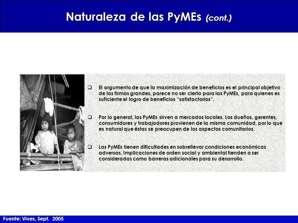 Naturaleza de las PyMEs (cont.) El argumento de que la maximización de beneficios es el principal objetivo de las firmas grandes, parece no ser cierto para las PyMEs, para quienes es suficiente el logro de beneficios satisfactorios.