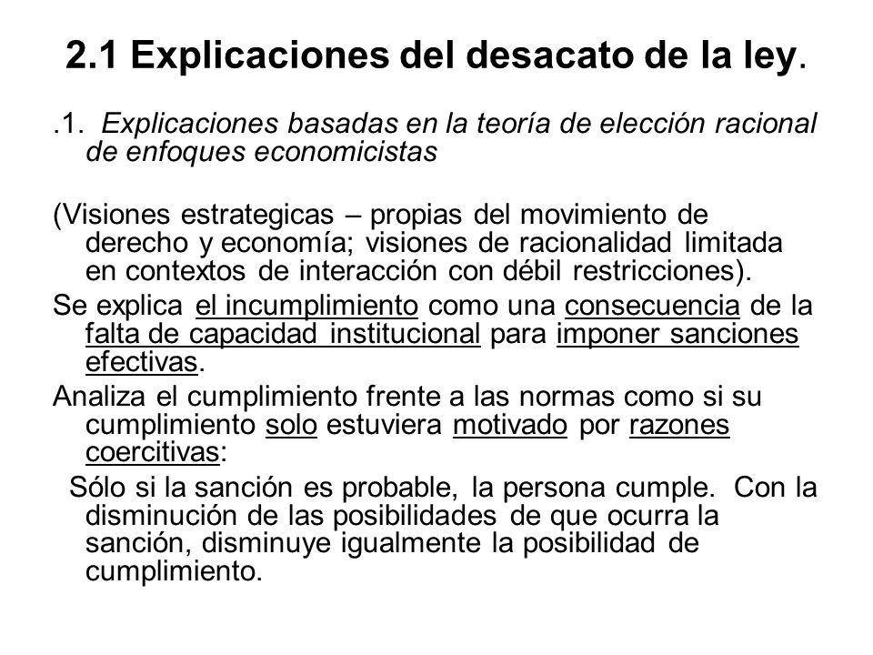 2.1 Explicaciones del desacato de la ley..1. Explicaciones basadas en la teoría de elección racional de enfoques economicistas (Visiones estrategicas