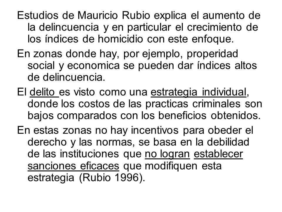 Estudios de Mauricio Rubio explica el aumento de la delincuencia y en particular el crecimiento de los índices de homicidio con este enfoque. En zonas