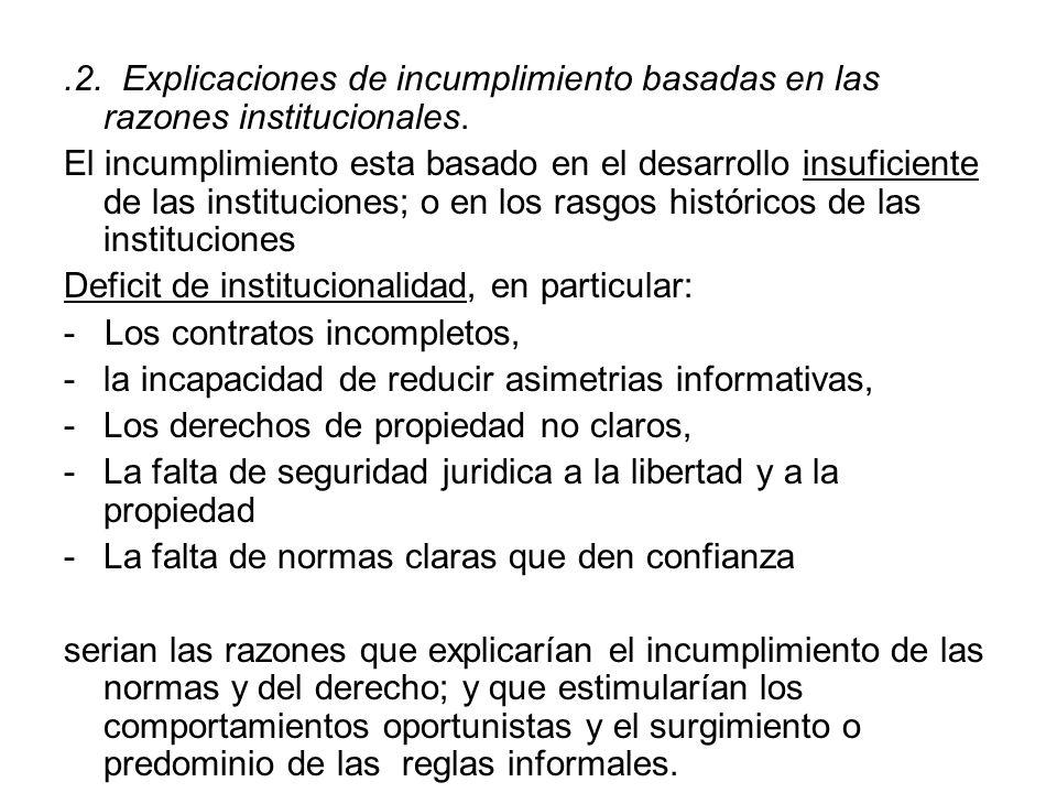 .2. Explicaciones de incumplimiento basadas en las razones institucionales. El incumplimiento esta basado en el desarrollo insuficiente de las institu