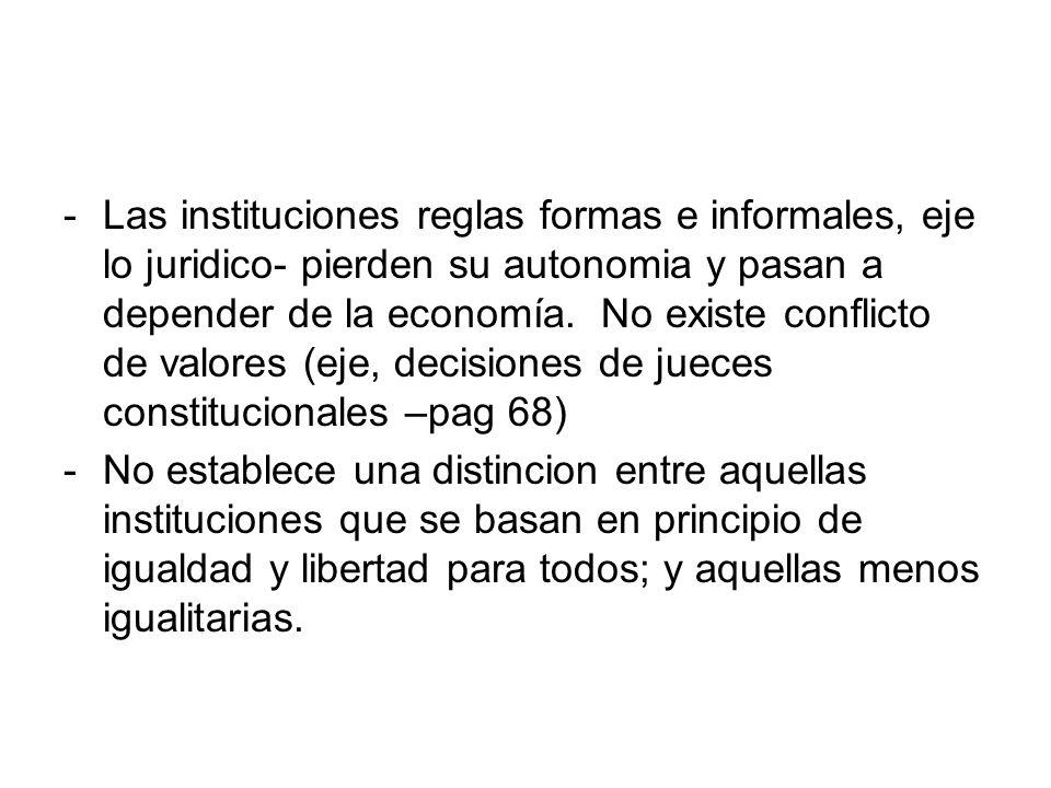 -Las instituciones reglas formas e informales, eje lo juridico- pierden su autonomia y pasan a depender de la economía. No existe conflicto de valores