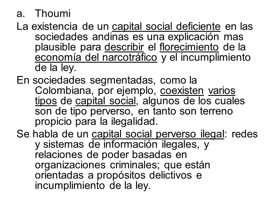 a.Thoumi La existencia de un capital social deficiente en las sociedades andinas es una explicación mas plausible para describir el florecimiento de l