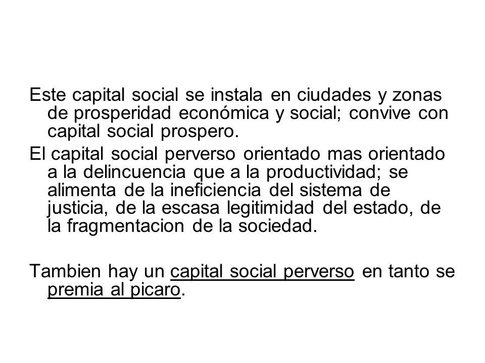 Este capital social se instala en ciudades y zonas de prosperidad económica y social; convive con capital social prospero. El capital social perverso
