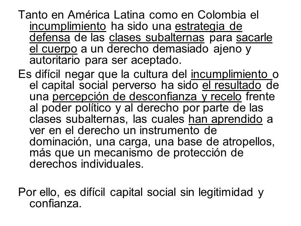 Tanto en América Latina como en Colombia el incumplimiento ha sido una estrategia de defensa de las clases subalternas para sacarle el cuerpo a un der