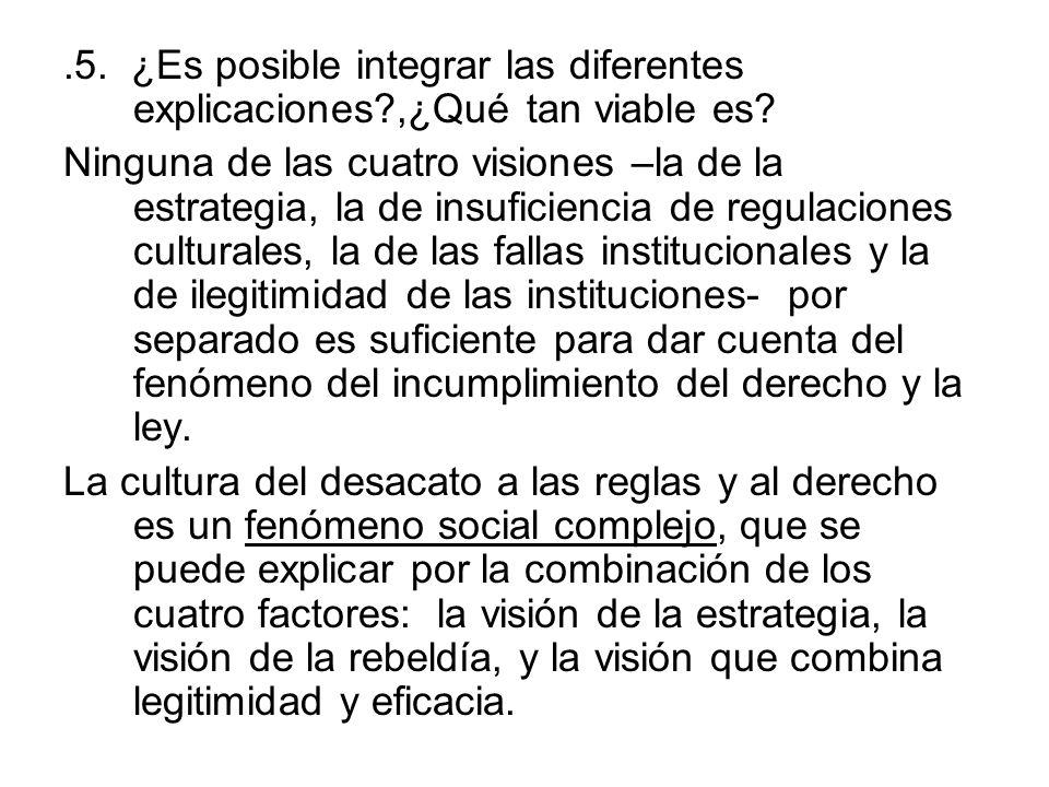 .5. ¿Es posible integrar las diferentes explicaciones?,¿Qué tan viable es? Ninguna de las cuatro visiones –la de la estrategia, la de insuficiencia de