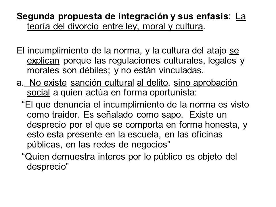 Segunda propuesta de integración y sus enfasis: La teoría del divorcio entre ley, moral y cultura. El incumplimiento de la norma, y la cultura del ata