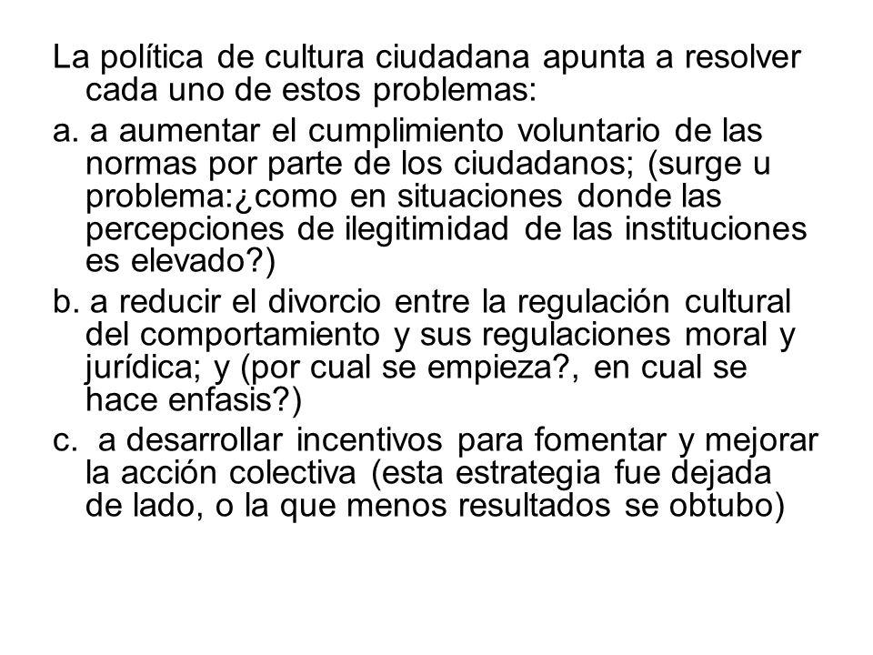 La política de cultura ciudadana apunta a resolver cada uno de estos problemas: a. a aumentar el cumplimiento voluntario de las normas por parte de lo