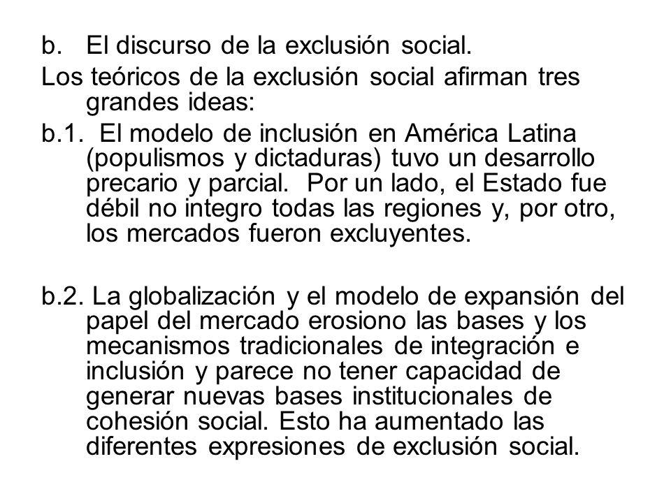 b.El discurso de la exclusión social. Los teóricos de la exclusión social afirman tres grandes ideas: b.1. El modelo de inclusión en América Latina (p
