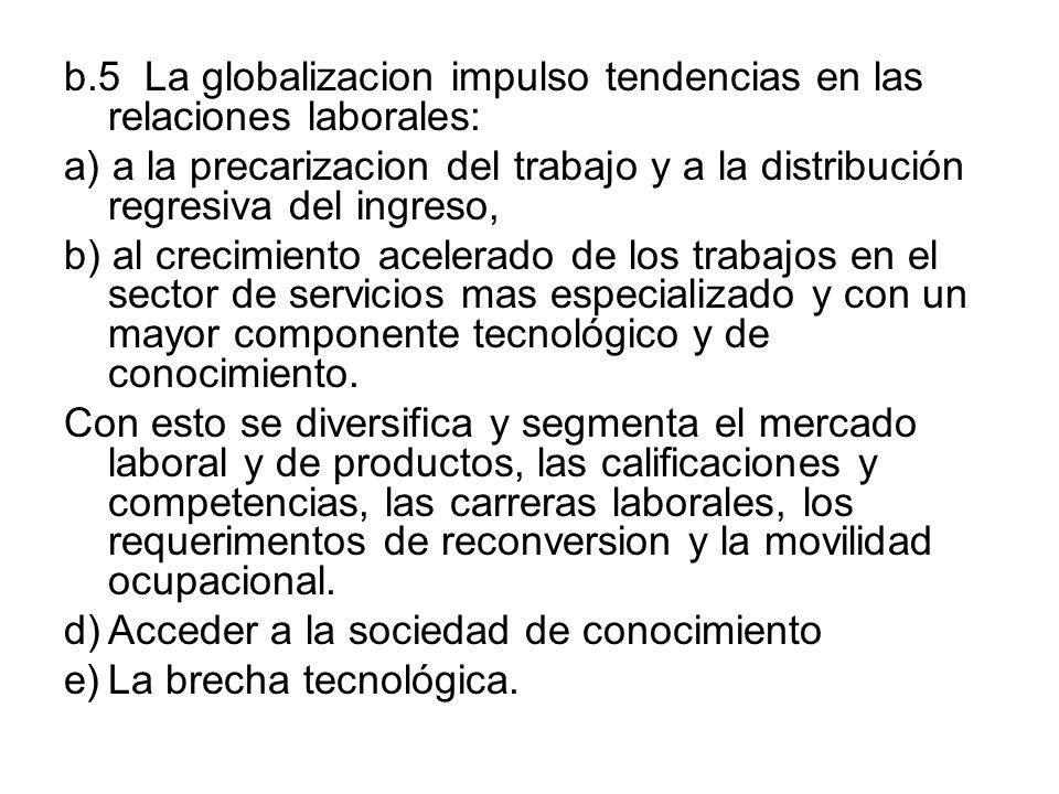 b.5 La globalizacion impulso tendencias en las relaciones laborales: a) a la precarizacion del trabajo y a la distribución regresiva del ingreso, b) a