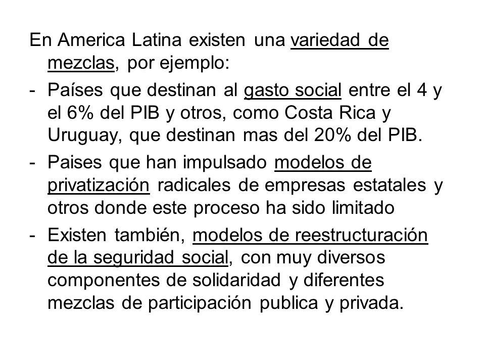 En America Latina existen una variedad de mezclas, por ejemplo: -Países que destinan al gasto social entre el 4 y el 6% del PIB y otros, como Costa Ri