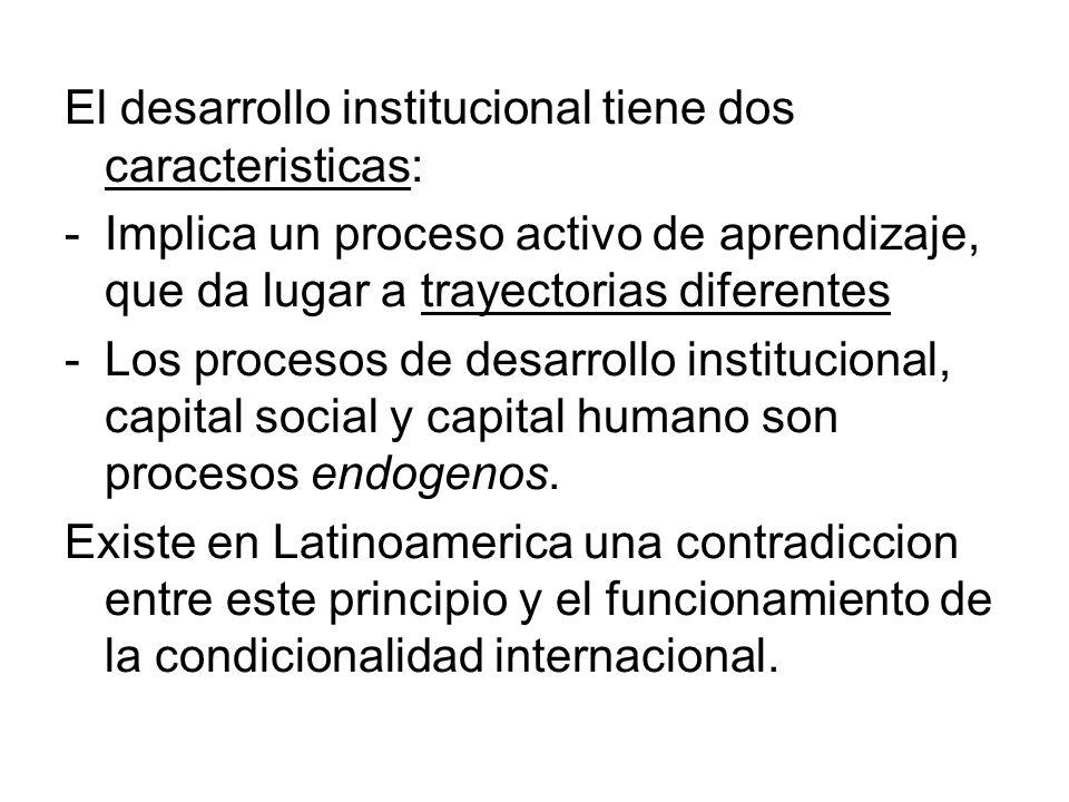 El desarrollo institucional tiene dos caracteristicas: -Implica un proceso activo de aprendizaje, que da lugar a trayectorias diferentes -Los procesos