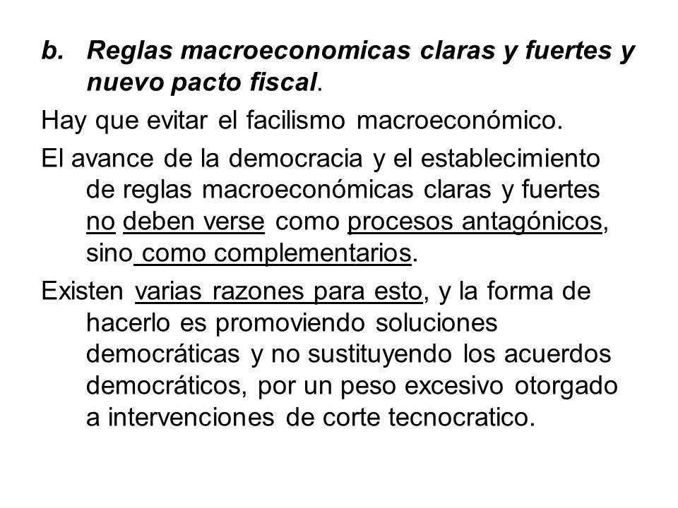 b.Reglas macroeconomicas claras y fuertes y nuevo pacto fiscal. Hay que evitar el facilismo macroeconómico. El avance de la democracia y el establecim
