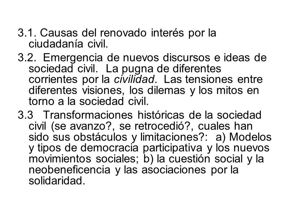 3.1. Causas del renovado interés por la ciudadanía civil. 3.2. Emergencia de nuevos discursos e ideas de sociedad civil. La pugna de diferentes corrie