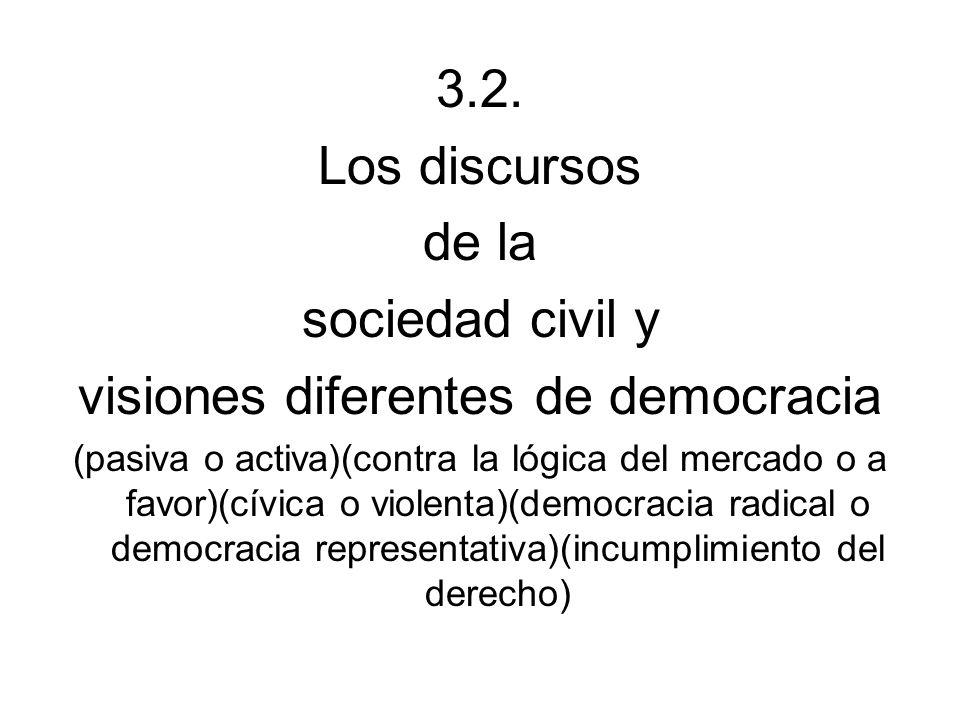 3.2. Los discursos de la sociedad civil y visiones diferentes de democracia (pasiva o activa)(contra la lógica del mercado o a favor)(cívica o violent