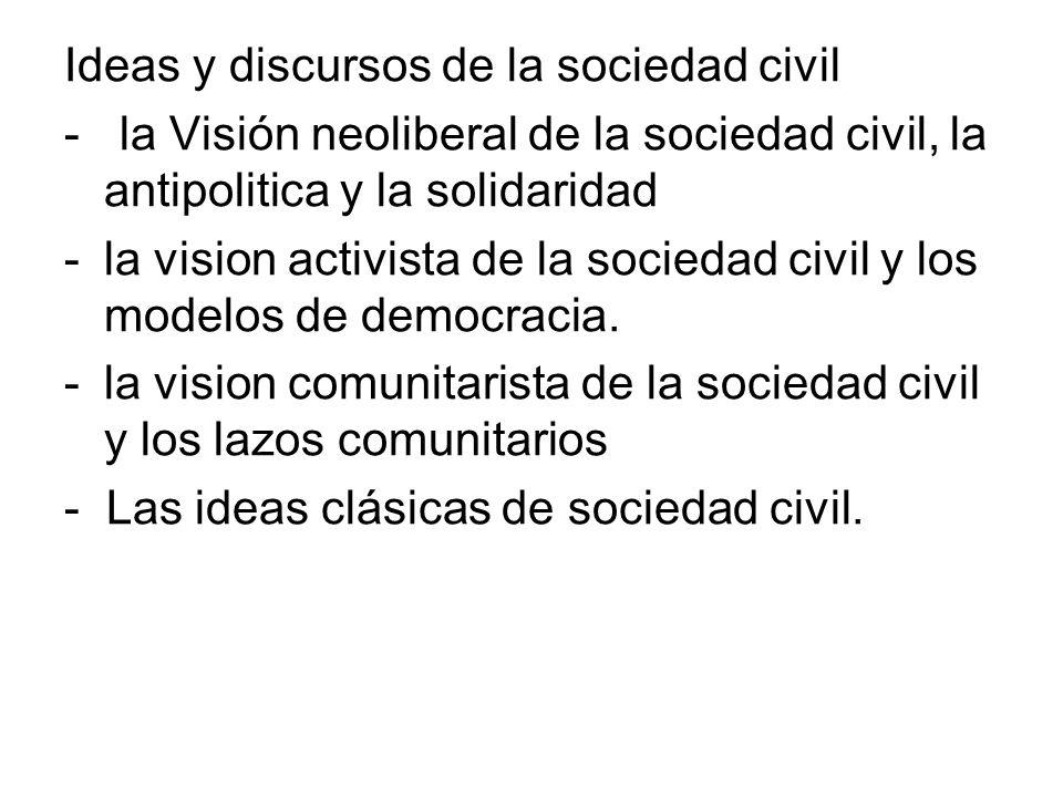 Ideas y discursos de la sociedad civil - la Visión neoliberal de la sociedad civil, la antipolitica y la solidaridad -la vision activista de la socied