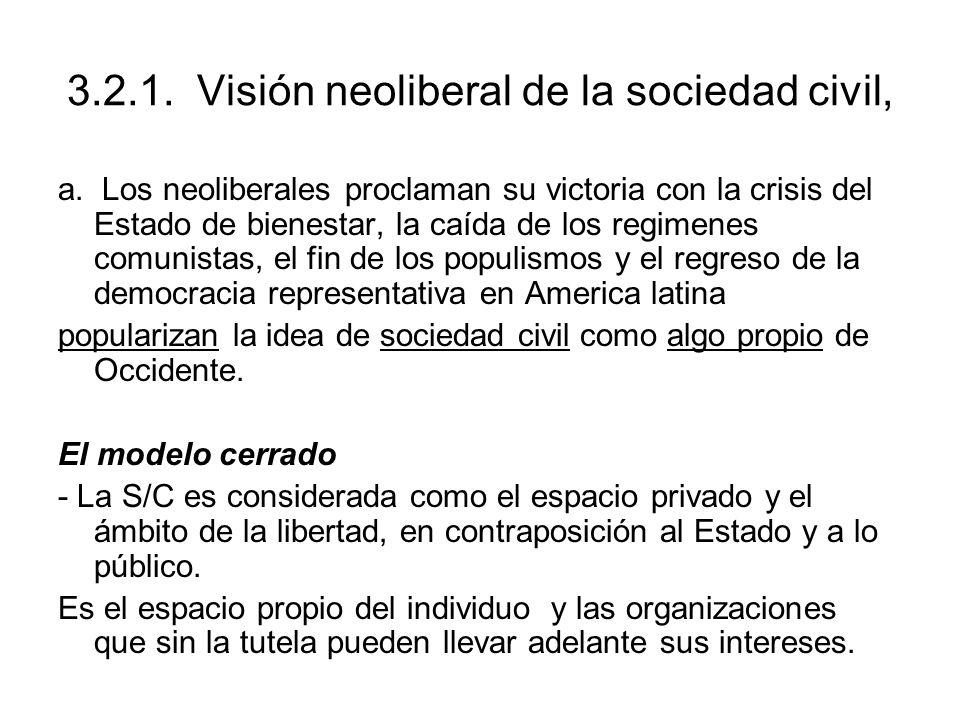 3.2.1. Visión neoliberal de la sociedad civil, a. Los neoliberales proclaman su victoria con la crisis del Estado de bienestar, la caída de los regime
