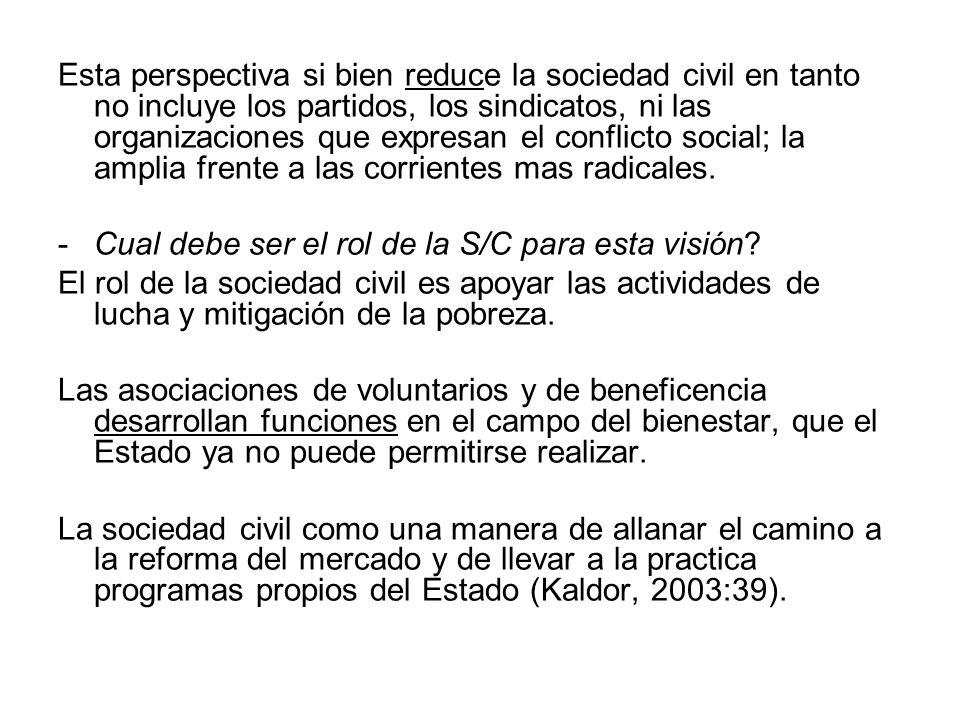 Esta perspectiva si bien reduce la sociedad civil en tanto no incluye los partidos, los sindicatos, ni las organizaciones que expresan el conflicto so