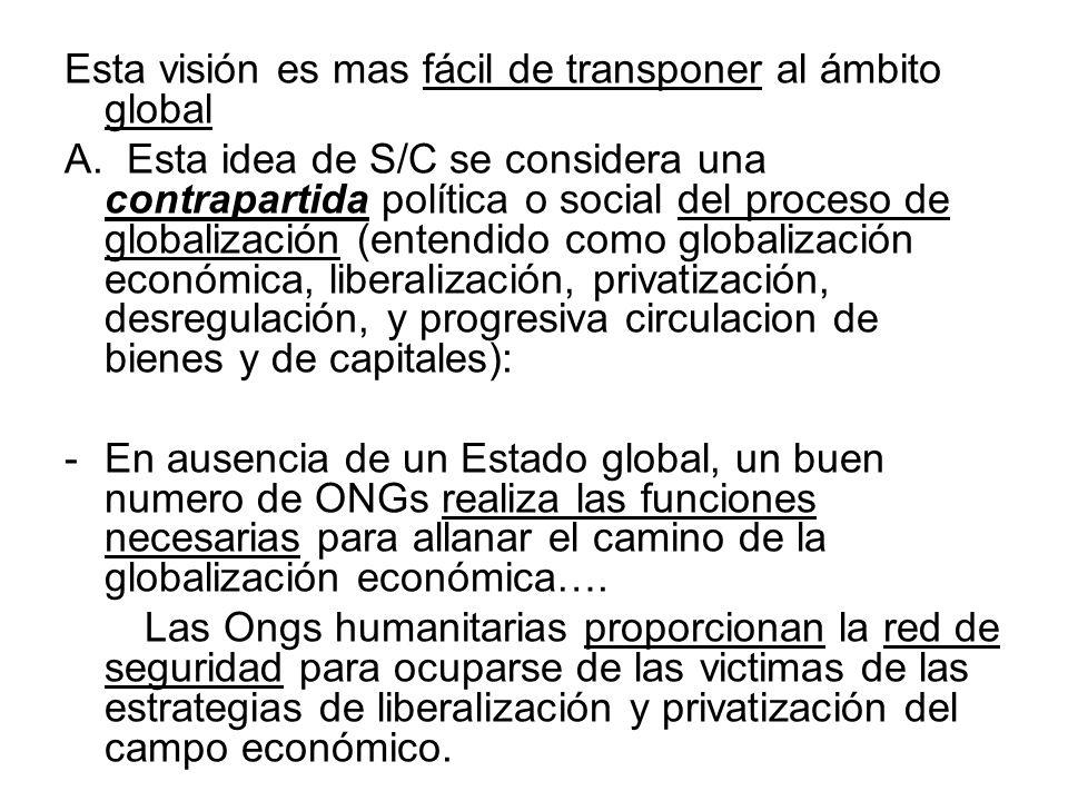 Esta visión es mas fácil de transponer al ámbito global A. Esta idea de S/C se considera una contrapartida política o social del proceso de globalizac