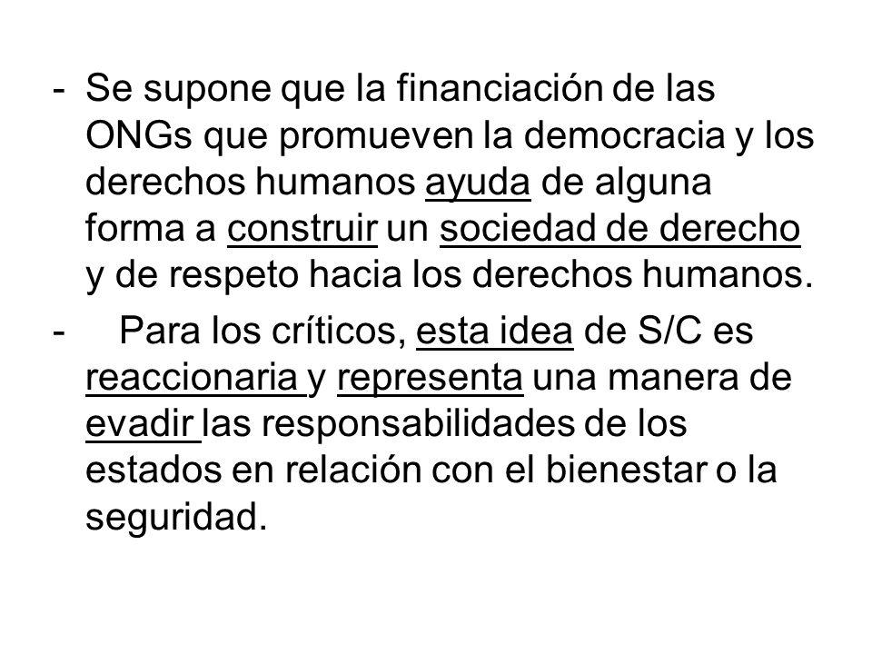 -Se supone que la financiación de las ONGs que promueven la democracia y los derechos humanos ayuda de alguna forma a construir un sociedad de derecho