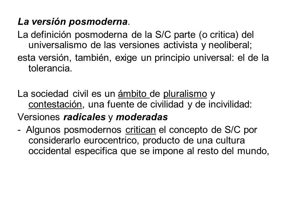La versión posmoderna. La definición posmoderna de la S/C parte (o critica) del universalismo de las versiones activista y neoliberal; esta versión, t