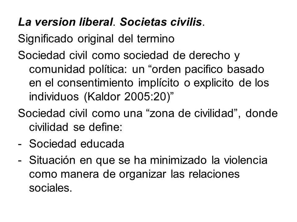 La version liberal. Societas civilis. Significado original del termino Sociedad civil como sociedad de derecho y comunidad política: un orden pacifico