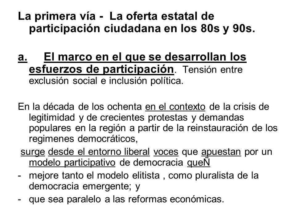 La primera vía - La oferta estatal de participación ciudadana en los 80s y 90s. a. El marco en el que se desarrollan los esfuerzos de participación. T
