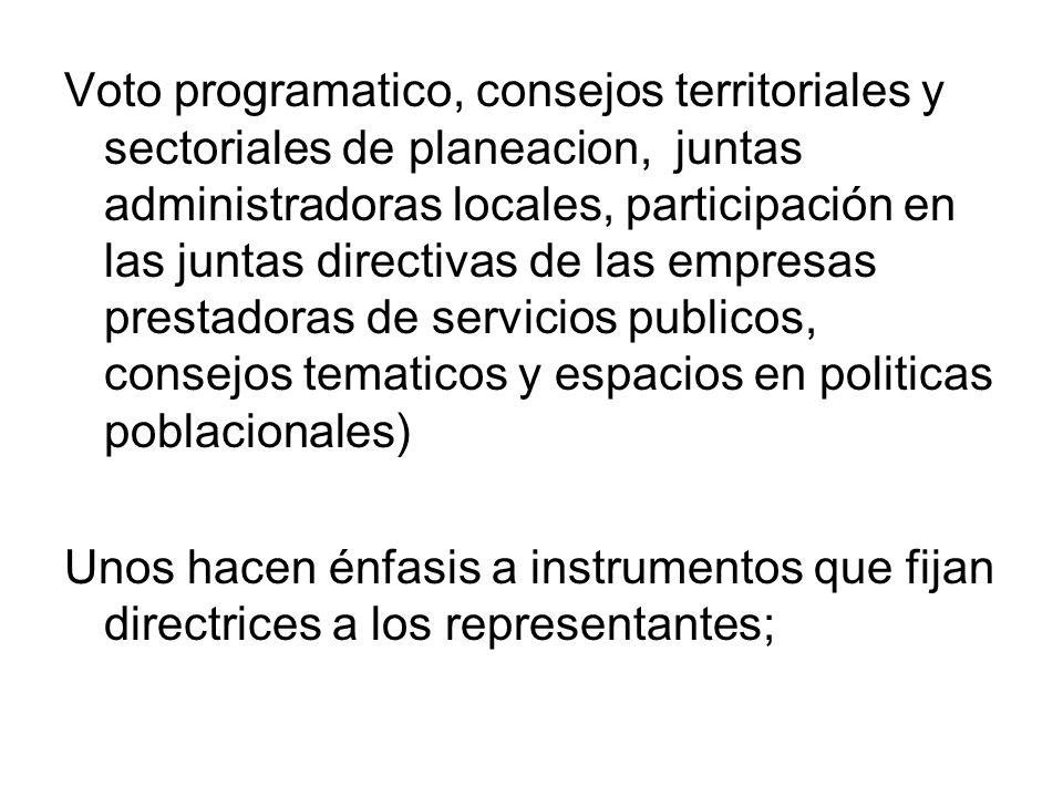 Voto programatico, consejos territoriales y sectoriales de planeacion, juntas administradoras locales, participación en las juntas directivas de las e
