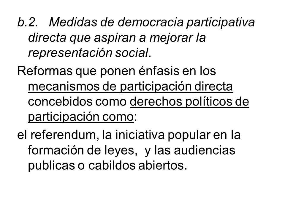 b.2. Medidas de democracia participativa directa que aspiran a mejorar la representación social. Reformas que ponen énfasis en los mecanismos de parti