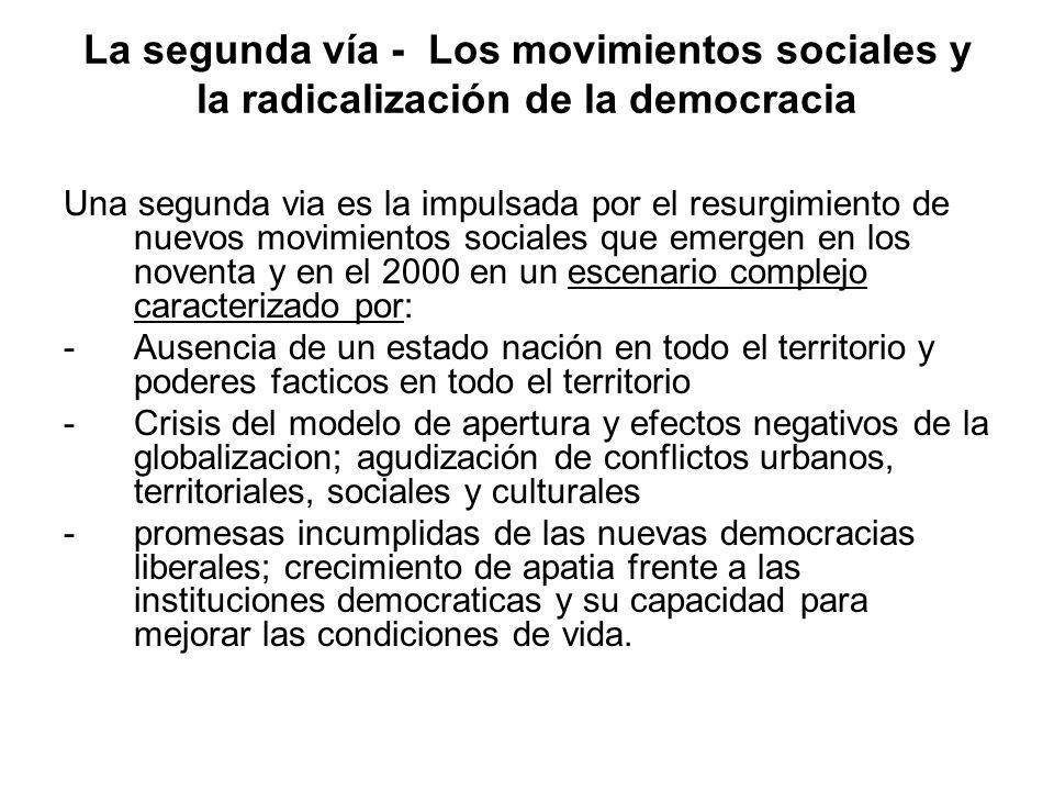 La segunda vía - Los movimientos sociales y la radicalización de la democracia Una segunda via es la impulsada por el resurgimiento de nuevos movimien