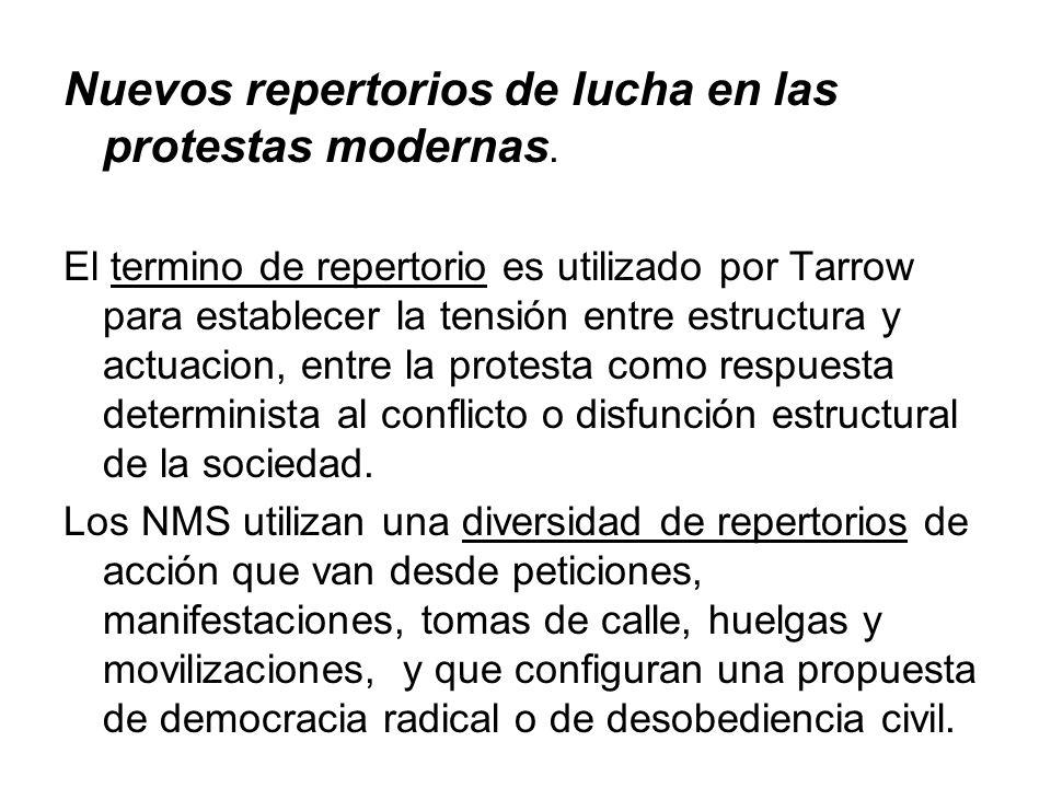Nuevos repertorios de lucha en las protestas modernas. El termino de repertorio es utilizado por Tarrow para establecer la tensión entre estructura y