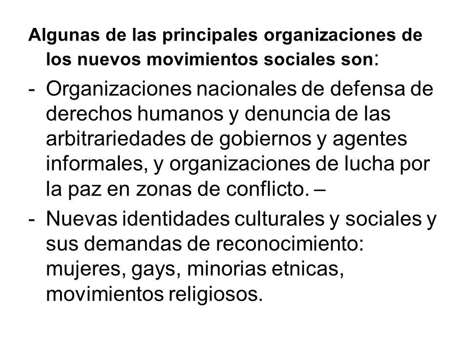 Algunas de las principales organizaciones de los nuevos movimientos sociales son : -Organizaciones nacionales de defensa de derechos humanos y denunci