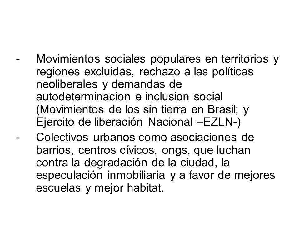-Movimientos sociales populares en territorios y regiones excluidas, rechazo a las políticas neoliberales y demandas de autodeterminacion e inclusion