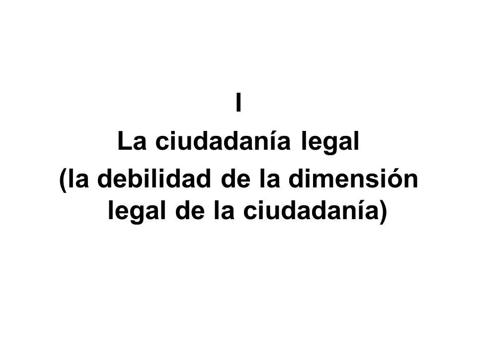 I La ciudadanía legal (la debilidad de la dimensión legal de la ciudadanía)