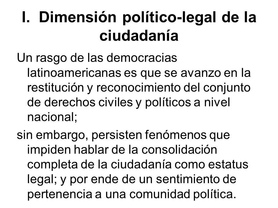 I. Dimensión político-legal de la ciudadanía Un rasgo de las democracias latinoamericanas es que se avanzo en la restitución y reconocimiento del conj