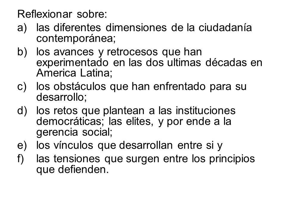 Reflexionar sobre: a)las diferentes dimensiones de la ciudadanía contemporánea; b)los avances y retrocesos que han experimentado en las dos ultimas dé