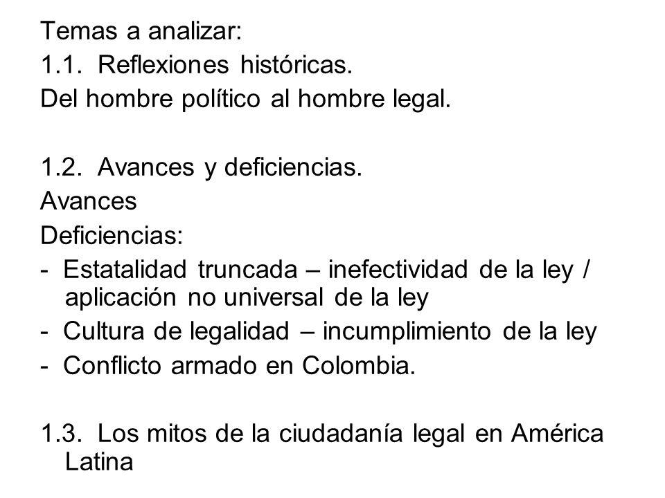 Temas a analizar: 1.1. Reflexiones históricas. Del hombre político al hombre legal. 1.2. Avances y deficiencias. Avances Deficiencias: - Estatalidad t