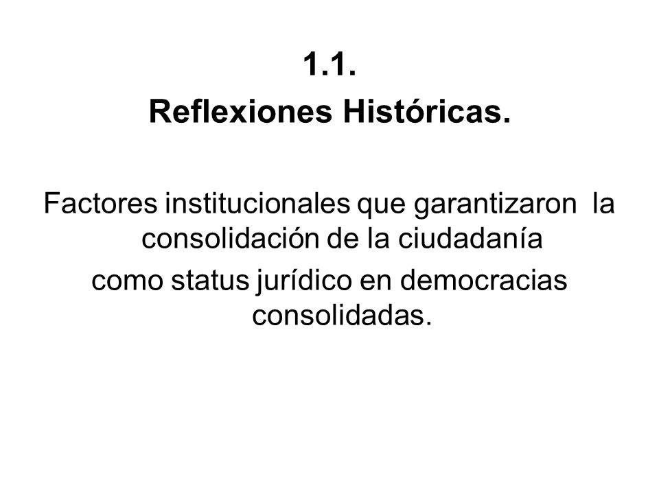 1.1. Reflexiones Históricas. Factores institucionales que garantizaron la consolidación de la ciudadanía como status jurídico en democracias consolida