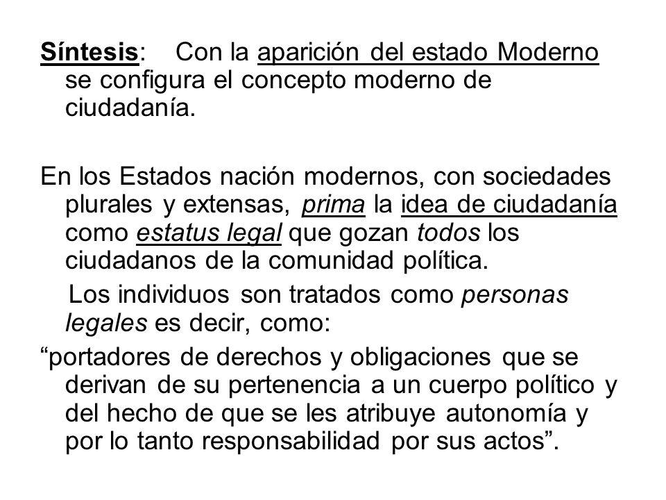 Síntesis: Con la aparición del estado Moderno se configura el concepto moderno de ciudadanía. En los Estados nación modernos, con sociedades plurales