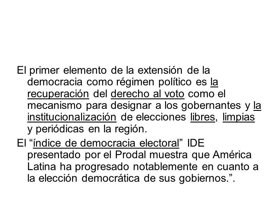 El primer elemento de la extensión de la democracia como régimen político es la recuperación del derecho al voto como el mecanismo para designar a los