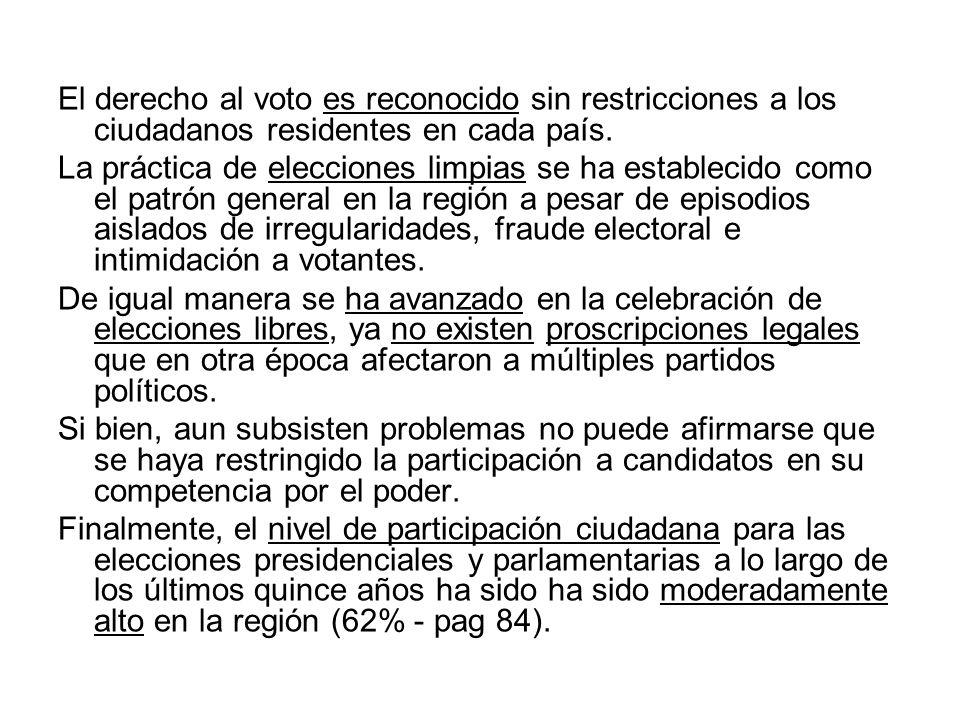 El derecho al voto es reconocido sin restricciones a los ciudadanos residentes en cada país. La práctica de elecciones limpias se ha establecido como