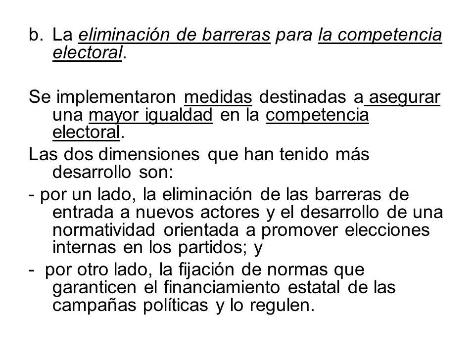 b.La eliminación de barreras para la competencia electoral. Se implementaron medidas destinadas a asegurar una mayor igualdad en la competencia electo