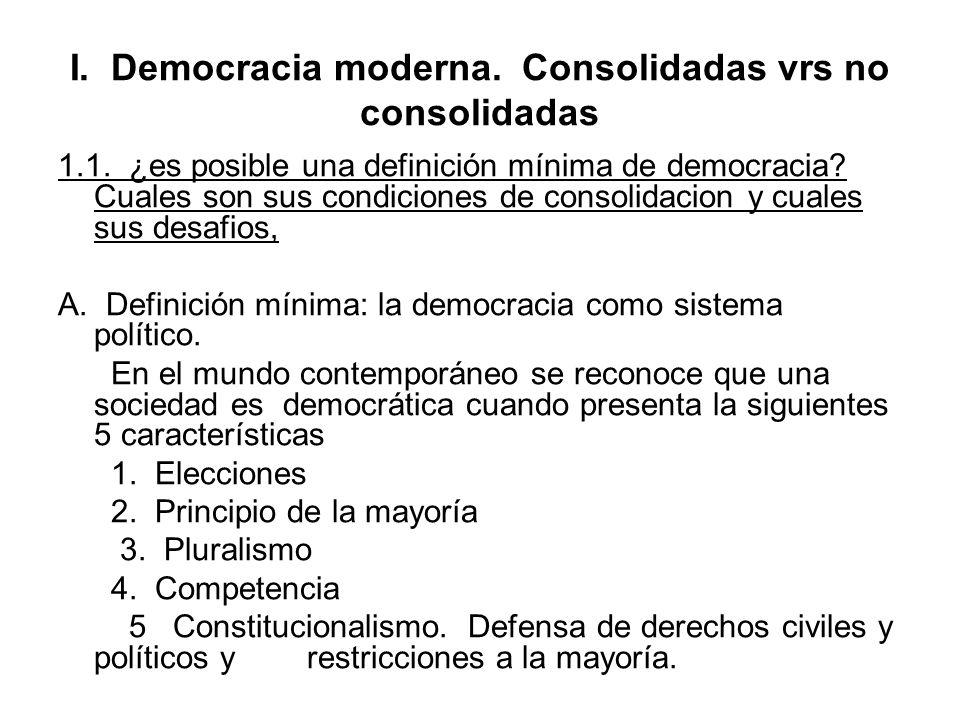 I. Democracia moderna. Consolidadas vrs no consolidadas 1.1. ¿es posible una definición mínima de democracia? Cuales son sus condiciones de consolidac