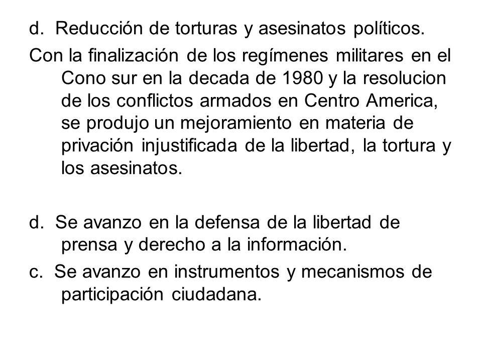 d. Reducción de torturas y asesinatos políticos. Con la finalización de los regímenes militares en el Cono sur en la decada de 1980 y la resolucion de