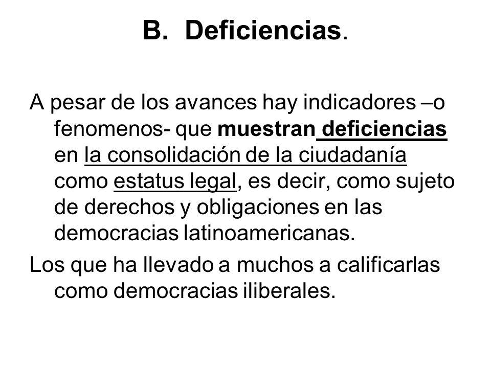 B. Deficiencias. A pesar de los avances hay indicadores –o fenomenos- que muestran deficiencias en la consolidación de la ciudadanía como estatus lega