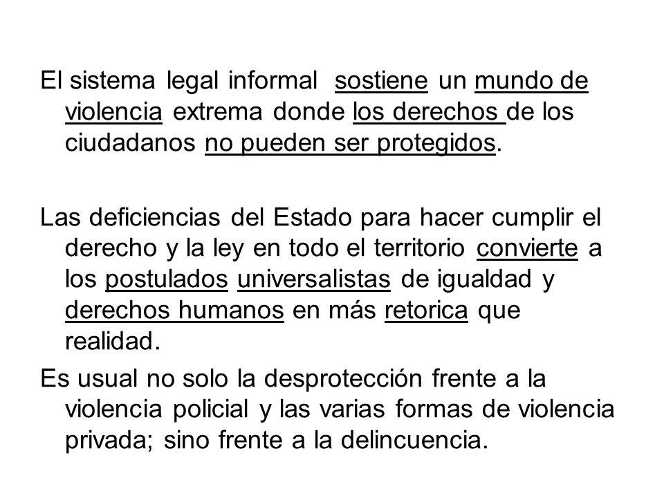 El sistema legal informal sostiene un mundo de violencia extrema donde los derechos de los ciudadanos no pueden ser protegidos. Las deficiencias del E