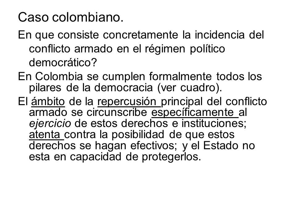 Caso colombiano. En que consiste concretamente la incidencia del conflicto armado en el régimen político democrático? En Colombia se cumplen formalmen