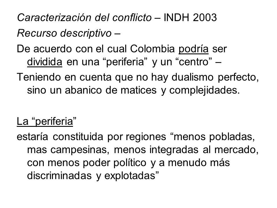 Caracterización del conflicto – INDH 2003 Recurso descriptivo – De acuerdo con el cual Colombia podría ser dividida en una periferia y un centro – Ten