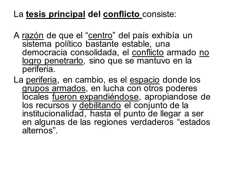 La tesis principal del conflicto consiste: A razón de que el centro del país exhibía un sistema político bastante estable, una democracia consolidada,